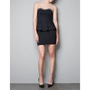 ZARA Strapless Peplum Bodycon Mini Dress Beaded